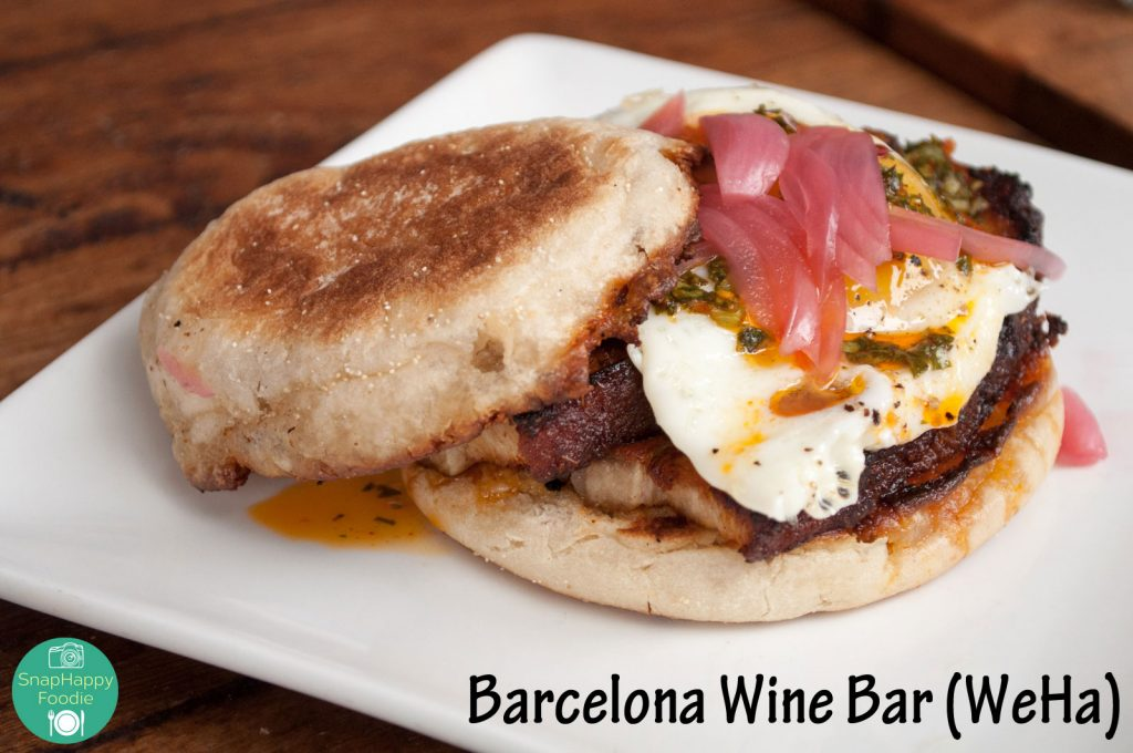Pork Belly Bocadillo with Egg and Pickled Onion